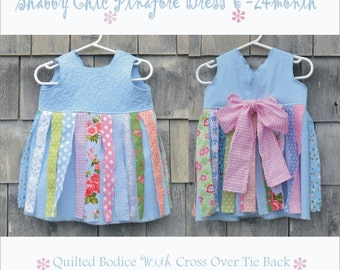SALE Baby DReSS 6 - 24 month Toddler PHoTo PRoP Sewn Tie Back PiNaFORE Blue Pink SHaBBy CHiC PiNNiE Apron QUiLTeD BoDiCE Fabric Strip Fringe