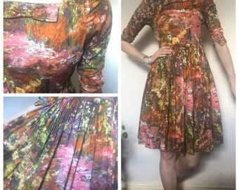 1950s vintage floral circle dress handmade bow uk 10