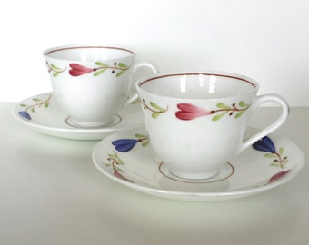 Wonderful set of 2 vintage ranka hand painted coffee espresso mocha cup and saucer by Stig Lindberg for Gustavsberg -  made in Sweden 1960s.
