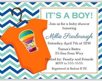 Aqua, Green, Blue, & Orange Chevron Personalized Baby Shower Printable Digital DIY Invitation or Post Card ( Any Wording or Text)