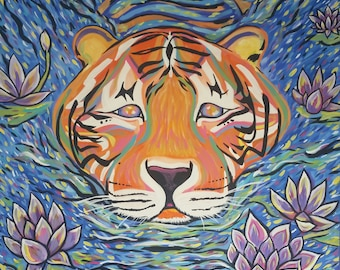 """Original Acrylic painting Tiger Lotus 24"""" x 30"""""""