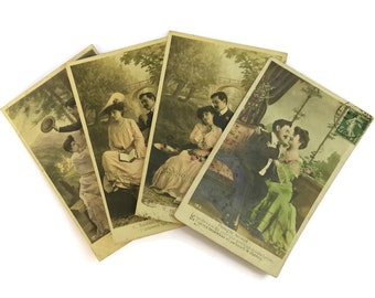 Antique French Romantic Postcards. Valentine's Card Postcard Collection. Edwardian Fashion Illustration.