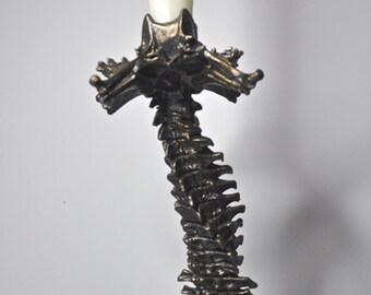 Helix Ossuary Spine Candlestick Holder, bronze finish