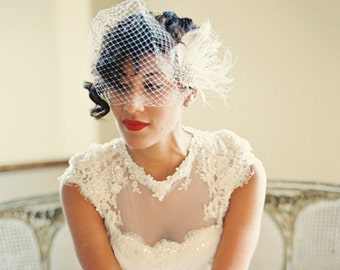 Wedding Headpiece with Bridal Veil,   Bridal Headpiece, Wedding Hair Piece,  Bridal Hair Piece,  Wedding Set, Bridal Hairpiece, Bridal Veil
