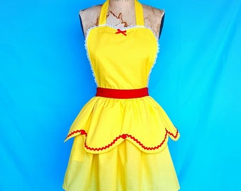 BELLE apron, Beauty and the Beast apron, Belle running costume, APRON womens full costume aprons, red roses, Disney running costume