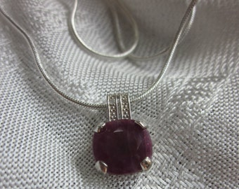 Deep Ruby Gemstone, Platinum and Silver Pendant Necklace