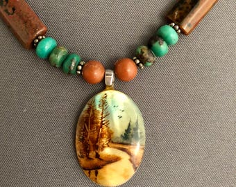 Green-blue Tourquise Necklace with forest scene pendant