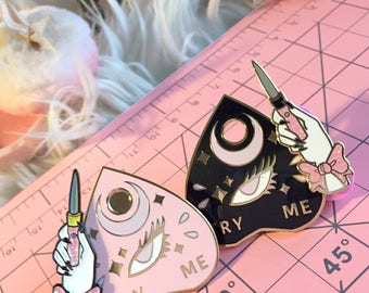 Enamel Pin Seconds Sale (Ouija Planchette and Switchblades & Bows Pins)