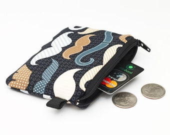 Hipster Coin Purse, Small Zipper Coin Bag, Mini Padded Card Wallet, Womens Tiny Zip Wallet - brown and blue mustaches