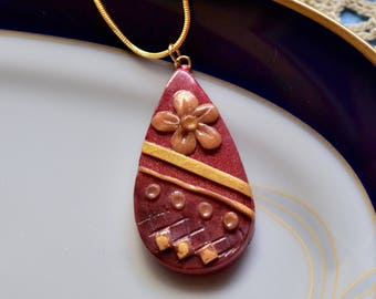 Teardrop pendant, Polymer Clay jewelry, Red and Yellow, OOAK,Handcrafted jewelry, Unique jewelry gift