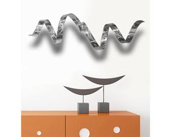Silver Modern Metal Wall Sculpture, Contemporary Metallic Home Decor, Metal Wall Art - Silver Wall Twist by Jon Allen