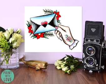 Love Letter Envelope and Roses Vintage Neo Traditional Tattoo Flash Style Watercolor Art Poster