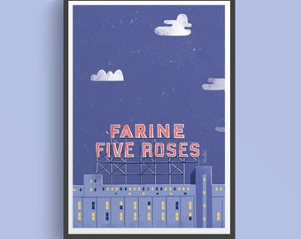 Printed poster - Illustration of the Five Roses in Montreal