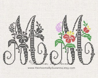 Large Antique Floral Monogram - Machine Cross Stitch Embroidery - Tropical Flower Initial - Cross Stitch Font - Floral Font M - HBS-61-M