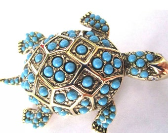 KJL KENNETH J LANE Turquoise Beaded Turtle Pin In Original Box!