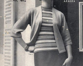 1950's Ladies Sweaters, Crossover Bolero, Jacket, Cardigan And Hat, 9 Patterns, eBook, Knitting Patterns. Instant Download.