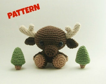 Amigurumi Moose Pattern, Crochet Woodland Animal Pattern, Amigurumi Animal Pattern, Amigurumi Woodland Doll Pattern, Crochet Annimal Pattern