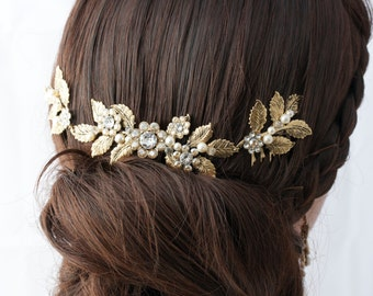 Antique Gold Wedding Headpiece Leaf Head Piece Bridal Hair Comb Swarovski Golden Shadow Crystal Leaf Hair Vine Bridal Hair Accessory STACEY