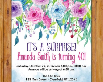 Surprise Birthday Invite Watercolor Roses Violet Pink Blue floral invitation 40th 50th 60th Any Age Printable 5x7 Digital JPG file (551)