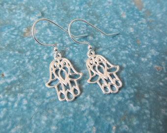 Sterling silver earrings, hamsa earrings, yoga earrings