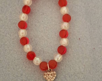 charm bracelet; red bracelet; valentine's bracelet; heart bracelet; love bracelet;