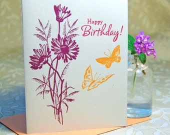 Butterfly Floral Letterpress Birthday Card
