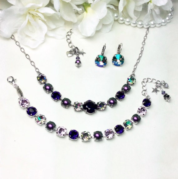 """Swarovski Crystal Necklace 12MM/8.5mm - Deep Purple, Paradise Shine, and Pearls -""""Tahitian Paradise""""   Sparkle & Shimmer - FREE SHIPPING"""
