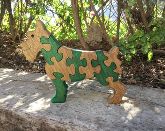 Dog puzzle, Wood toy, kids gift, puzzle, wooden Scotish terrier puzzle, handmade wooden toys, jigsaw puzzle, solid wood, wooden animal, wood