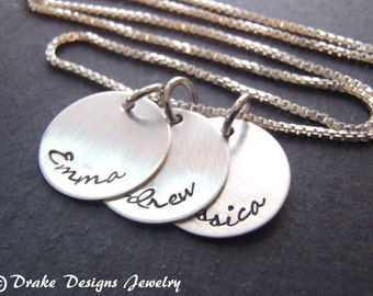 Sterling silver mothers custom name necklace hand stamped personalized mom gift