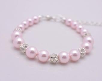 Pink Pearl Bracelet, Light Pink Pearl Bridal Bracelet, Pink Bridesmaid Bracelet, Pearl and Rhinestone Bracelet, Pink Wedding Bracelet 0216