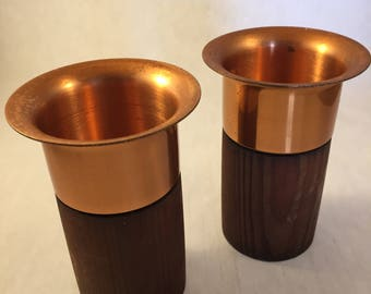 Teak or walnut and copper candle holders
