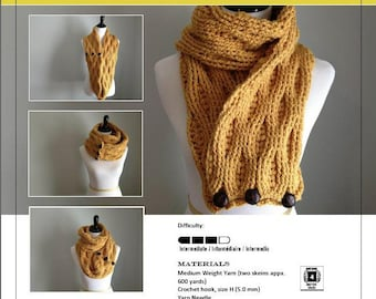Crochet Pattern-Cable and Puffs Scarf