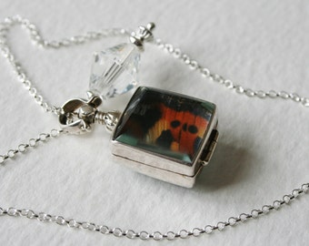 Butterfly Wing Glass Locket Vintage Crystal Charm Sterling Silver