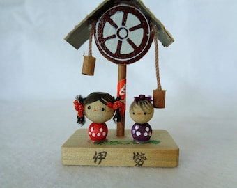 1063: Kokeshi doll, Vintage Japanese wooden Pair small Kokeshi dolls on stand ,ARTIST'S Work, signed,Handcrafted in Japan