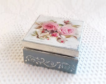 Wooden Jewelry Box Handmade Decoupage Blue Storage Box With Pink Roses For Home Decor