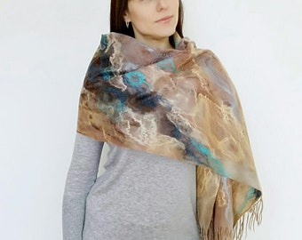 Felt scarf handmade Fashion wearable art Women art scarf Merino wool scarf Felted wrap Luxury handmade shawl Women gift Felt scarf-tippet