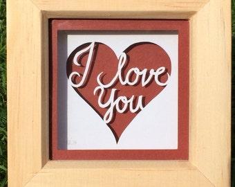 Handmade 'I Love You' Papercut