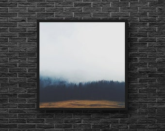 Forest Landscape Photo - Fog Forest Photo - Misty Forest - Nature Photo - Forest Print - Square Photo - Forest Wall Art - Forest Wall Decor