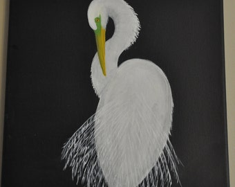 Great egret original painting on canvas
