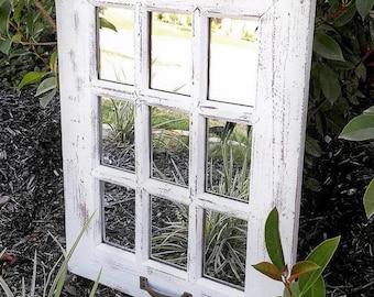 Wall Mirror, Rustic Mirror, Farmhouse Window Mirror, Farmhouse Bathroom, Decor, Vintage Mirror, Rustic Home Decor, Rustic Wall Decor, Rustic