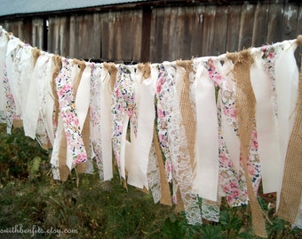 Pink Floral White Lace Burlap Shabby Chic FABRIC GARLAND - Rag Tie Banner, Fabric Banner, Nursery, Baby Shower Garland, Wedding Garland
