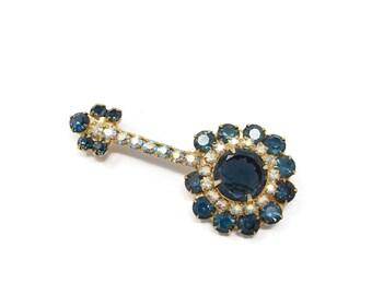 Juliana Banjo Rhinestone Brooch, Delizza & Elster Blue Rhinestone Pin, Figural Brooch, Vintage Jewelry, AB Rhinestone