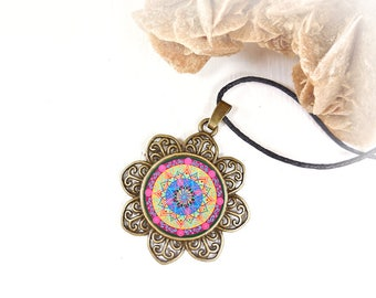 New age necklace sacred geometry, cabochon talisman mandala lotus blossoms, geometric jewelry, anniversary gifts lesbian, under 15 euro.