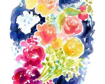 Blue Ink + Blooms  - PRINT