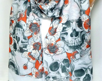 Scarf, Shawl, Skull Scarf, infinity Skull Scarf, Skull and Flower Printed Scarf, Lightweight Summer Scarf, For Halloween, Day of the dead