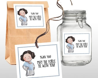 INSTANT DOWNLOAD Princess Leia Star Wars Baby Shower Favor Tags, Thank You  Tags, Star
