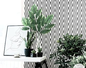 Black Chevron Wallpaper / Traditional or Removable Wallpaper