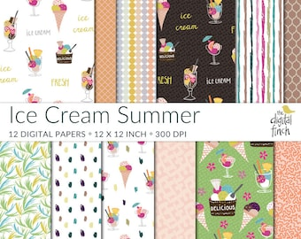 Summer digital papers - Ice Cream papers - Tropical Leaves - high resolution scrapbooking paper - instant download - small commercial use