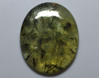 AAA Grade  Super Top Quality Dashing Natural Untreated Rutilated Prehnite 36x29x5 MM Smooth Plain Oval Shape Cabochon