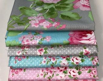 CHARLOTTE Tanya Whelan, ONE YARD Bundle, Free Spirit Fabrics, Shabby Chic Quilt, Baby Girl Nursery, Quilting, Cotton, Pink Floral, 8 Skus
